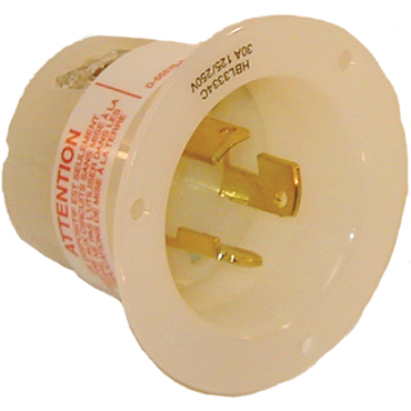 Recessed male electric receptacle
