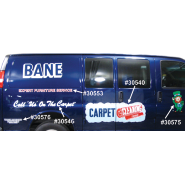"""Van Decal for Bane-Clene Professional Carpet Cleaners: Large White """"Call Us"""" (69"""