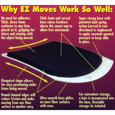 EZ Moves Furniture Moving Sliders for Carpet Cleaners (set of 4)