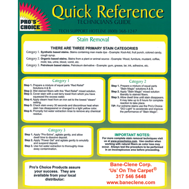 Pro's Choice Quick Reference Guide for Technicians - Spotting, Resoiling, Odor Control