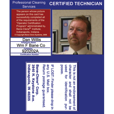 Photo ID Badge for Professional Certified Technician Carpet Cleaners from Bane-Clene®